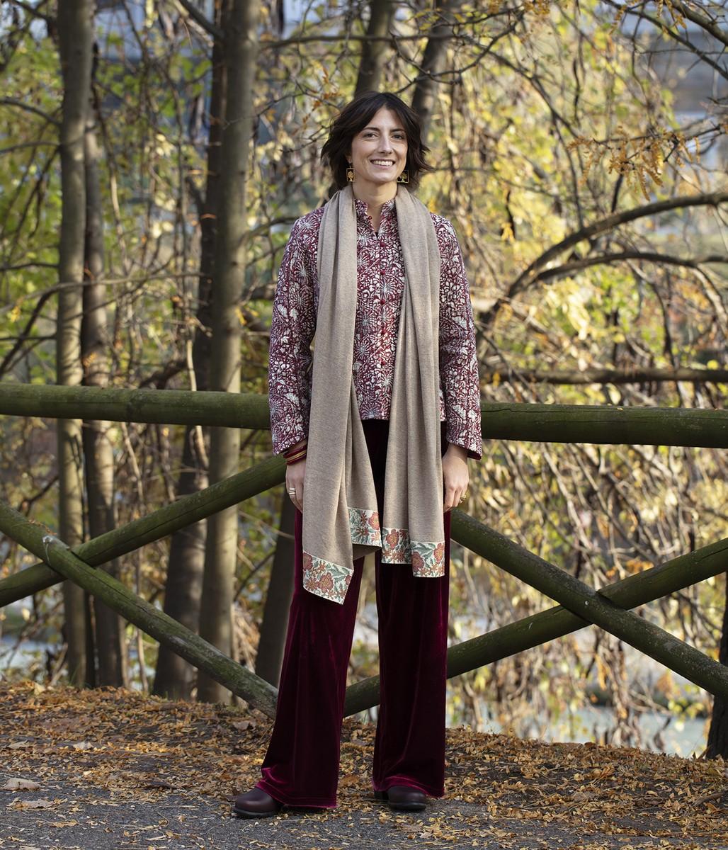 Giacchina in velluto di cottone stampata a mano / Pantaloni in velluto