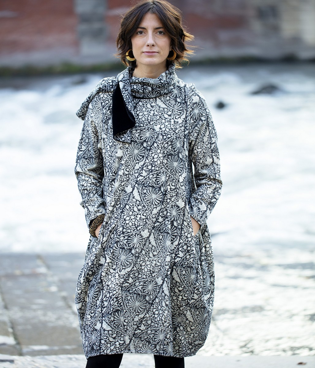 Vestito ovetto in velluto di cotone stampato a mano / sciarpina in velluto e seta stampato a mano